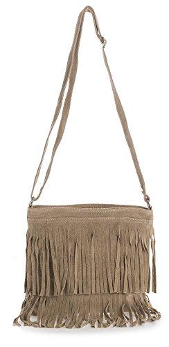 Big Handbag Shop - Borsa a tracolla da donna, compatta, in pelle scamosciata, con frange Black