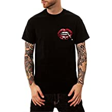 Ocean Plus Hombre Algodón Camiseta Patrón de Animales 3D Cuello Redondo Manga Corta Negro Talla Extra