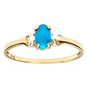 Citerna 9 ct Yellow and White Gold Turquoise Birth Stone Ring - Size H