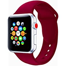 Apple Watch Correa 38mm, Silicona Suave Reemplazo Sport Banda Para 42mm iWatch Serie 3/Serie 2/Serie 1 (38 mm Rosa Rojo)