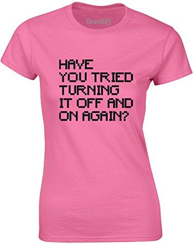 Brand88 - Have You Tried..., Gedruckt Frauen T-Shirt Azalee/Schwarz