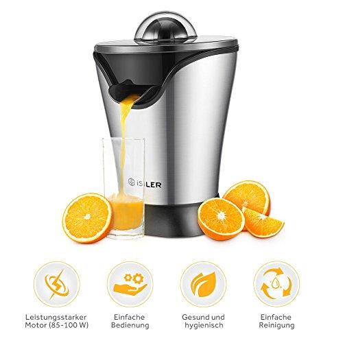 Zitruspresse, iSiLER Saftpresse mit leisem und leistungsstarkem 100-W-Motor, 5 Minuten für ein 350 ml Glas Saft, Zitruspresse Elektrisch mit Staubschutzhaube und Stahlgehäuse, Fruchtpresse für Zitrusfrüchte wie Orangen, Grapefruits und Zitronen