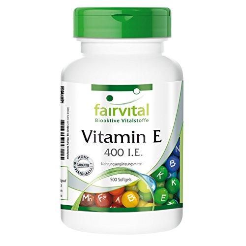Vitamin E Kapseln 400 I.E. - HOCHDOSIERT - 500 Softgels - für die ganze Familie -