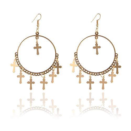 HUGJOU Ohrring Gold Kreuz Ohrringe Für Frauen Barock Böhmischen Große Lange Ohrringe Schmuck