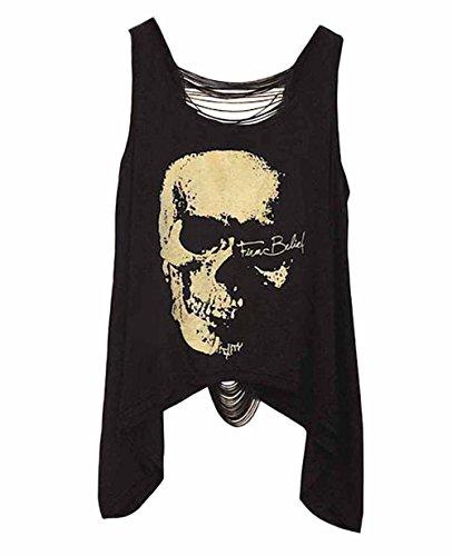 DELEY Mujeres Vintage Punk Skull Tank Tops Espalda Abierta De La Borla Chaleco Sin Mangas T-Shirt Blusas Negro