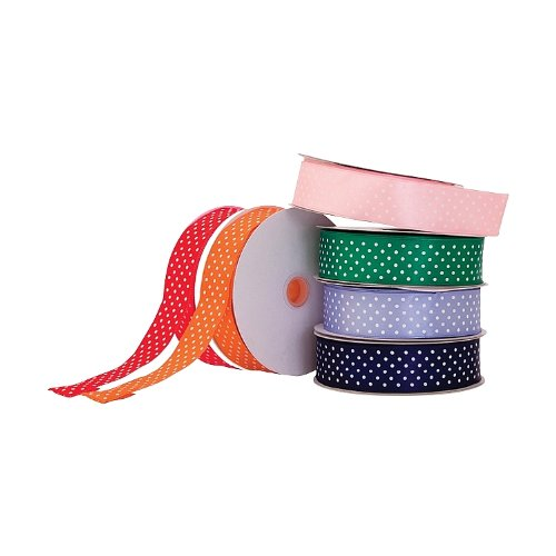 Wired satin Dots double face DOT Ribbon. Lavanda, Green, 3,8cm x 45,7m