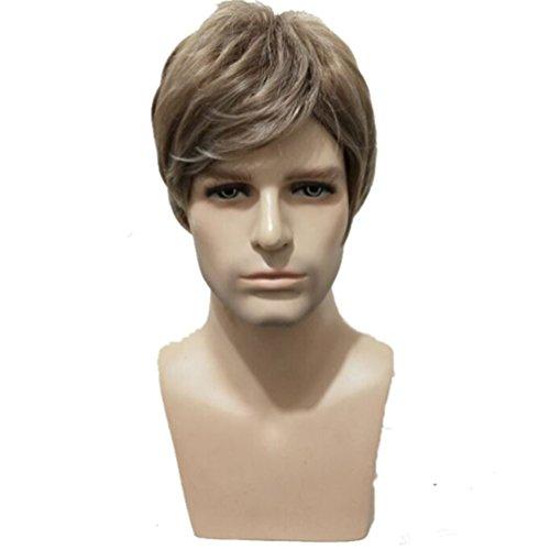 YZ-YUAN Perücke Fashion Blonde Für Männer Synthetische Haare Front Haarteil Kostüm Sehr Natürlich ()