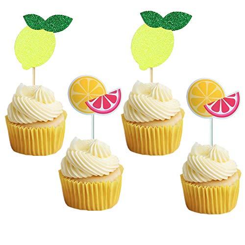 JeVenis Satz von 24 Limonade Party Cupcake Topper Zitronenscheiben Cupcake Dekoration Limonade Geburtstag Party Supplies Tutti Frutti Cupcake Topper Obst Geburtstag Party Obst Geburtstag Dekorationen