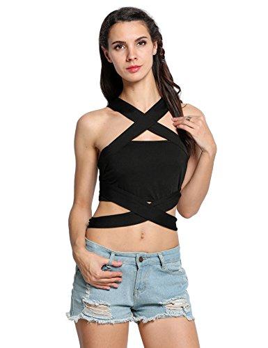 CRAVOG Damen Tank Vest ärmellos Bustier BH Bodycon Oberteil Clubwear Bluse Träger Top Schwarz