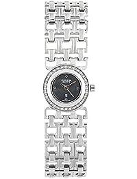 FOCE Silver Round Analog Wrist Watch for Women with Silver Metal Bracelet Strap - F351LSL-BLACK