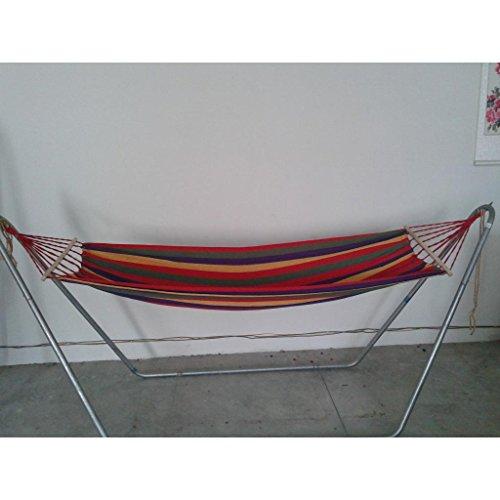 Hamac en bois simple de toile de QAZSE (avec le bois blanc en bois long de 80 centimètres) pour envoyer la longueur totale totale de sac de corde attachée 260CM * 80CM