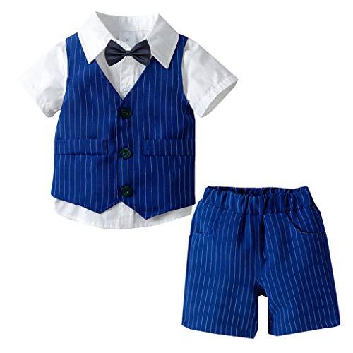 Kinderanzug Set Kleinkind Kinder Baby Boy Junge Gentleman Weste Bow Hosenträger Strap Hosen + Shirt Ausstattungs 3PCS Set Kinderkleidung Babykleidung Bekleidungsset (110, Blau)