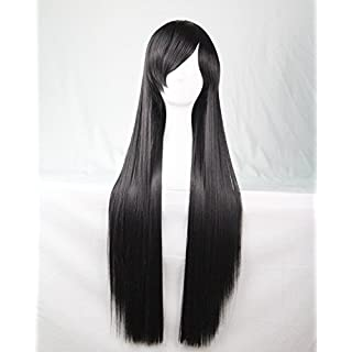 Womens Ladies Girls 80cm Black Color Long Straight Wigs High Quality Hair Carve Cosplay Costume Anime Party Bangs Full Sexy Wigs