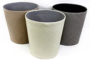 Choice of Cream, Brown or Grey Woven Lined Waste Paper Bin Basket (Brown)