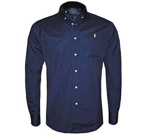 polo-ralph-lauren-manica-lunga-uomo-su-misura-camicia-nera-blu-scuro-bianco-smlxlxxl-cotone-navy-100