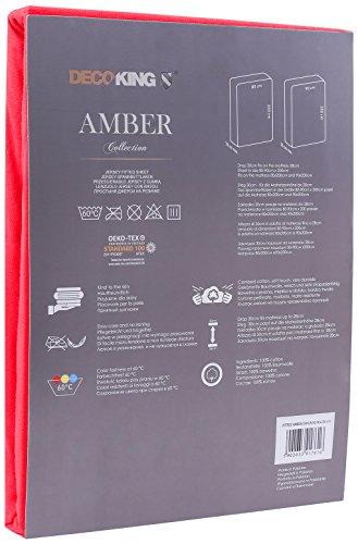 DecoKing 18033 80x200-90x200 cm Spannbettlaken rot 100% Baumwolle Jersey Boxspringbett Spannbetttuch Bettlaken Betttuch Red Amber Collection - 3
