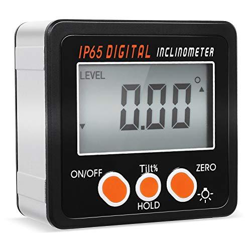 FIXKIT Digitaler LCD Winkelmesser Neigungsmesser Inklinometer magnetisch LCD Hintergrundbeleuchtung Display mit Batterie Schraubendreher Wasserdicht: IP65