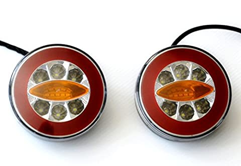 2x LED NEON Round Hamburger Real Tail Combination 12V 24V Lights Indicator Reverse Lamps Truck trailer chassis