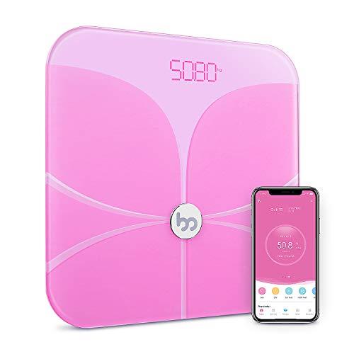 Femometer- Körperfettwaage Bluetooth Ultraschlanke Waage, Premium Smart Personenwaage Digital mit APP für BMI, Gewicht, Muskelmasse, Wasser, Entwickelt für Frauen