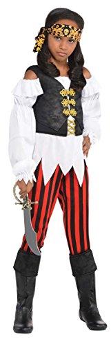 Hübsche Schurke Piraten Mädchen Kostüm Karibik Bucaneer Kinder Kinder Kostüm - Hübsche Schurke, 104-116 (Pirat Bucaneer)