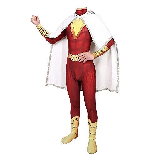 Shazam Superheld Kostüm - Superhelden Shazam Kostüm Kind Erwachsener Cosplay Onesies Halloween Mottoparty 3D Druck Spandex Strumpfhosen,RedAdult-XXXL