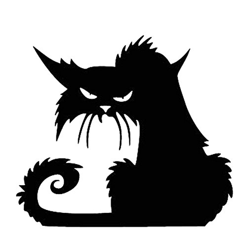Schwarze Katze Fenstersticker Wandtattoo Wandaufkleber Wandsticker Halloween Deko ()