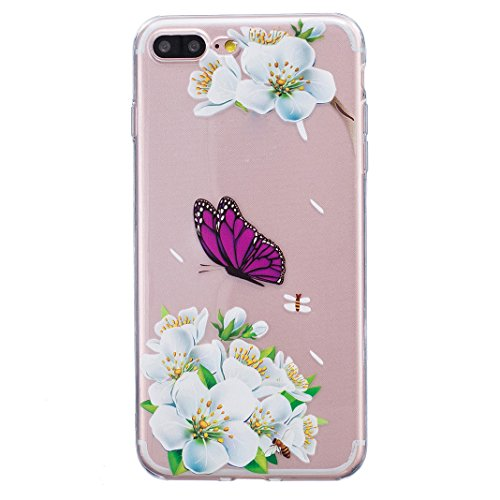 Coque iPhone 7 Plus 5.5 pouces, iPhone 7 Plus Silicone Arrière Coque, Coque iPhone 7 Plus Silicone, Moon mood Plume Noir Relief Couverture pour iPhone 7 Plus Case Cover Coque de Protection TPU Silicon 1-Papillon pourpre