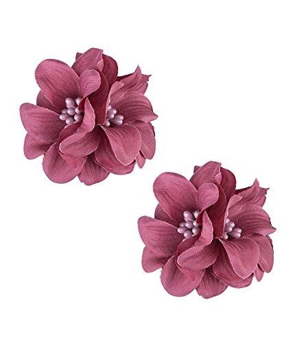SIX Sommer 2er-Set, Haarschmuck, Haar Clips, goldene Haarspangen mit dunkel rosa Textil-Blumen, Kostüm, Dia de Muertos (24-625)