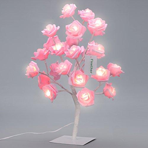 finether-1772-pouces-45-cm-batterie-rose-arbre-lumineux-de-fleurs-lampe-de-table-avec-24-leds-branch