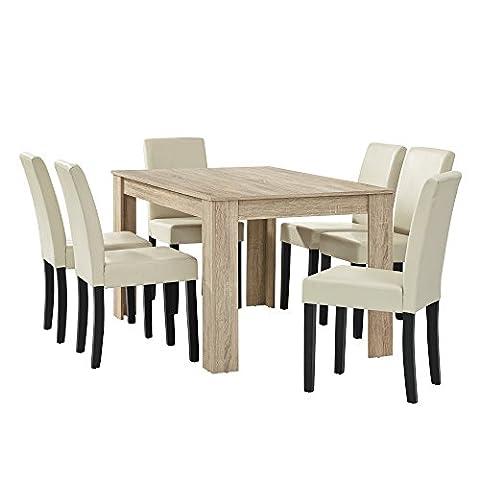 [en.casa] Esstisch Eiche hell mit 6 Stühlen creme Kunstleder gepolstert