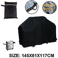 LU2000 Cubierta para barbacoa Cubierta para parrilla al aire libre Impermeable ya prueba de polvo UV Protección Pequeño Tamaño-Negro