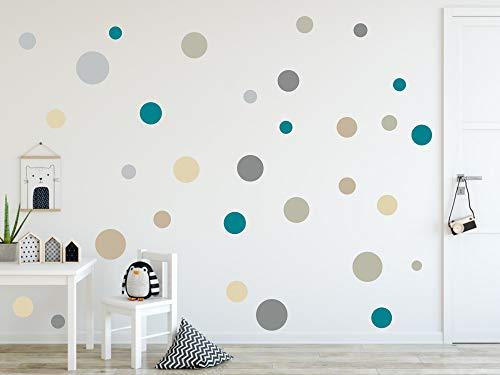 Timalo® 73078 Lot de 120 stickers muraux pour chambre d'enfant Motif cercles pastel - Lot de 120 -...