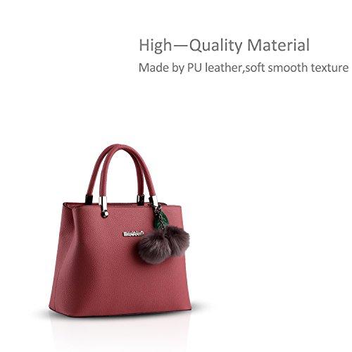 NICOLE&DORIS nuovo sacchetto di palle di pelo femminile coreano Borsa a tracolla Messenger pensili(Sapphire) Red wine