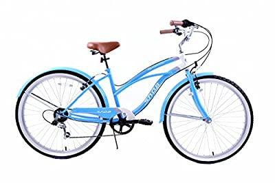 "Snob American Classic California Style 26"" Wheel Ladies Lifestyle Beach Cruiser Bike Blue & White 19"" Frame With Mudguards"