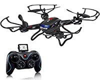 Holy Stone F181 RC Quadcopter Drone with HD Camera RTF 4 Channel 2.4GHz 6-Gyro Headless System Black (Upgraded with Altitude Hold Function) by DeeRC