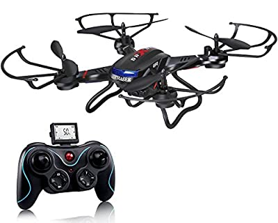 Drone with HD camera,DeeRC F181 RC Quadcopter Drone RTF 4 Channel 2.4GHz 6-Gyro Helicopter with Headless System, 3D Flips and Upgraded Altitude Hold Function- Black