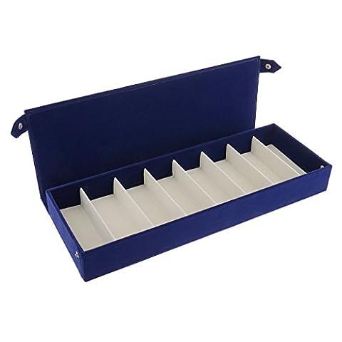 Gazechimp Boîte de Rangement en Microfibre Présentoir Affichage Pour 8 Paires Lunettes de Soleil Porte Plateau--Nouveau Design Marine/Violet - Bleu