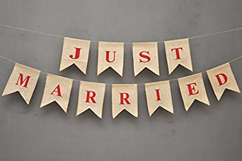 JUST MARRIED Burlap-Just Married Car Sign-Wedding Banner-Champagne Engagement Party Décor With Red Hearts On Both The Ends-Wedding Engagement Bunting #B_BAN_34