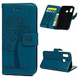 Edauto A40 Hülle Eule Case für Samsung Galaxy A40 HandyHülle Leder Flipcase Schutzhülle Brieftasche Flipcover Tasche Ständer Magnetverschluss Kartenfach Handytasche Blau