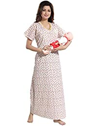 d293192d2b TUFAB Women s Cotton Small Flower Print Invisible Zip Pattern  Feeding Maternity Nursing Nighty