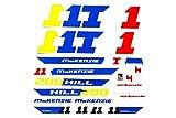 Fahrrad DEKOR Satz Aufkleber Rahmen Frame Decal Sticker MCKENZIE Gelb Blau Rot