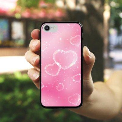 Apple iPhone X Silikon Hülle Case Schutzhülle Herz Liebe Pink Hard Case schwarz