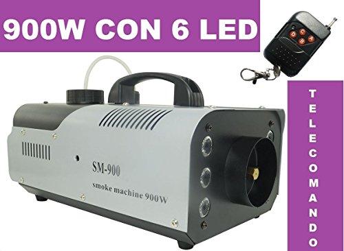 Macchina Fumo Wireless Telecomando Effetti Luce 900W Watt 6 LED RGB NEBBIA disco