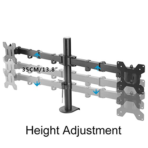 Suptek Fully diverse twin left arm LCD LED Monitor Desk Mount bear Bracket for 13 27 Screens through 15 Tilt 360 Rotation 180 Pull Out Swivel left arm Max VESA 100x100 MD6442 Monitor Arms Stands