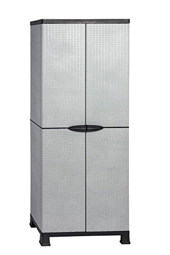 Kunststoffschrank Madera, im Rattan Design mit drei verstellbaren Einlegeboden mit jeweils 20kg Tragkraft - hohe Version
