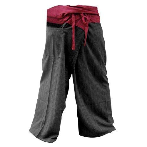 GABUR Unisex 2-farbige Thai-Fischerhose, Yogahose, Baumwolle, Rot und Schwarz, Modell: