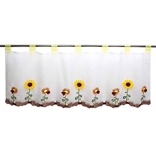 Tenda per finestre ESTATE, adatta a cucina, bagno e salotto / tenda con motivo floreale / 45x115 cm / tendina moderna trasparente