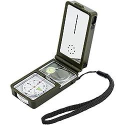Brújula precisa y profesional ,10 en 1 Brújula multifuncional herramienta de supervivencia compacta con luz LED para actividades al aire, acampar, excursionismo, aventura(Verde del ejército)