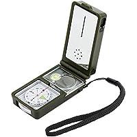 Landnics Kompass 10 in 1 Taschenkompass Multifunktion Survival Kit mit LED Thermometer Flint Feuerstein Pfeife Lupe für Outdoor Wildnis Abenteur Reise Wandern Notfall, Grün