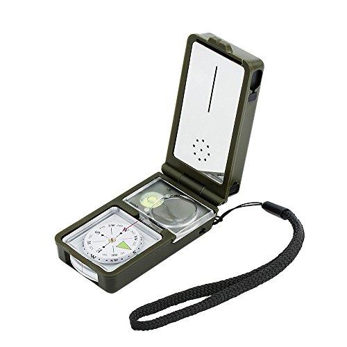 Landnics Kompass 10 in 1 Taschenkompass Multifunktion Survival Kit mit LED Thermometer Flint Feuerstein Pfeife Lupe für Outdoor Wildnis Abenteur Reise Wandern Notfall, Grün (Kit Putter Gewicht)